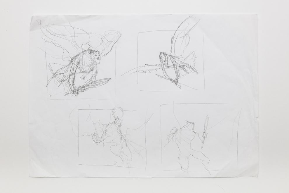 Aven Mimeomancer sketch 1/2 A3 size set $300