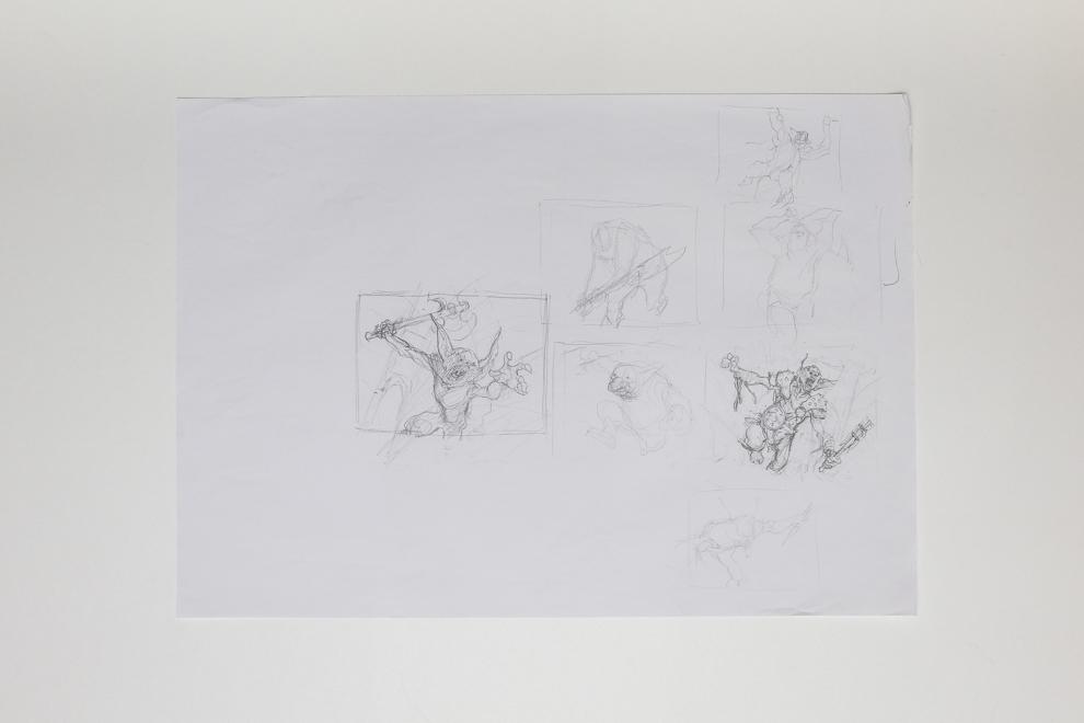 Goblin Assailant sketch A2 size $250